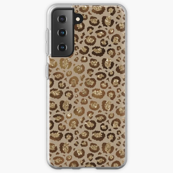 Brown & Gold Glitter Leopard  Samsung Galaxy Soft Case