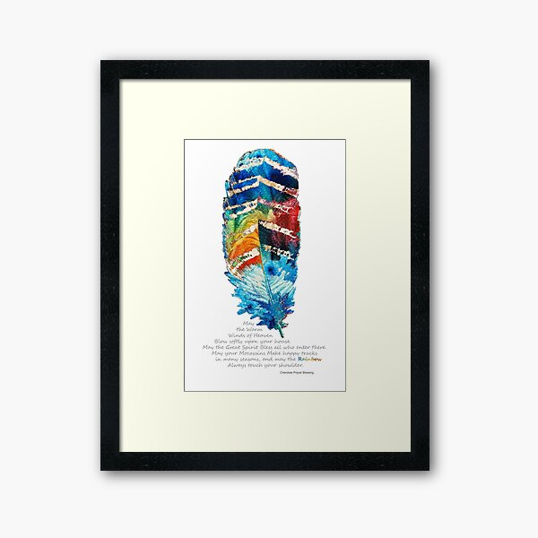 Colorful Feather Art - Cherokee Blessing - By Sharon Cummings Framed Art Print