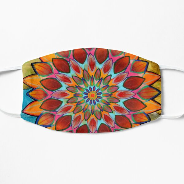 bright floral mandala Small Mask