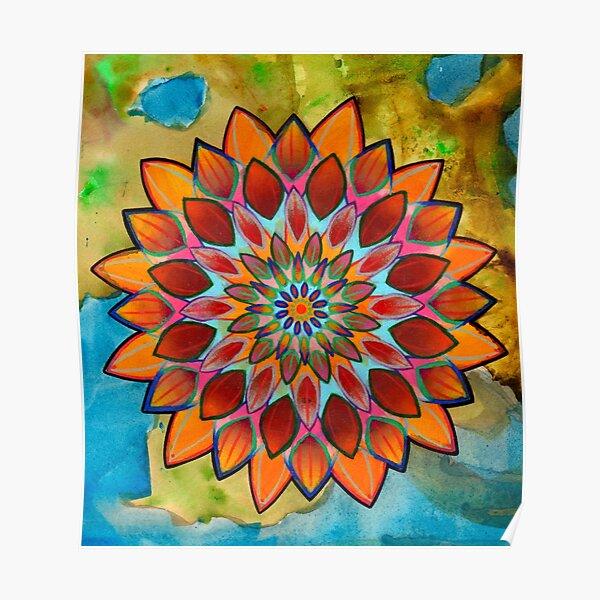 bright floral mandala Poster