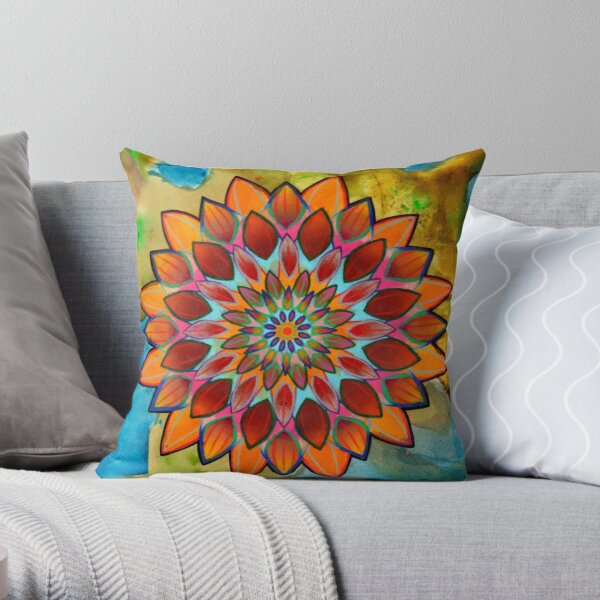 bright floral mandala Throw Pillow
