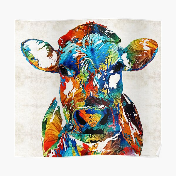 Colorful Cow Art - Mootown - By Sharon Cummings Poster