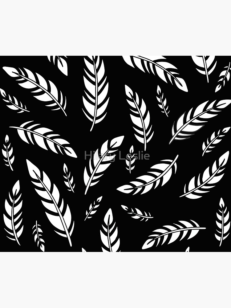 Black and White Feathers || Birds || Pattern by hennabyhilary