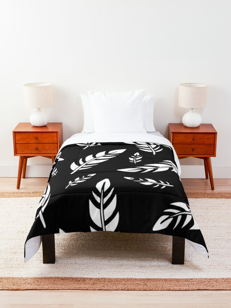 Alternate view of Black and White Feathers || Birds || Pattern Comforter