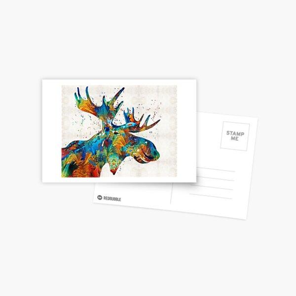 Colorful Moose Art - Confetti - By Sharon Cummings Postcard