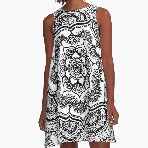Spring Lotus || Abstract || Black and White A-Line Dress