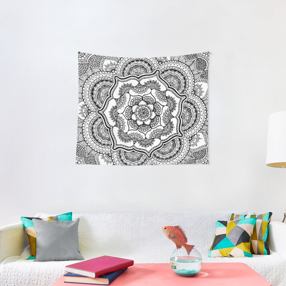 Spring Lotus || Abstract || Black and White Tapestry