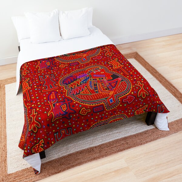 Kuna Indian in Canoe - Red Mola Comforter