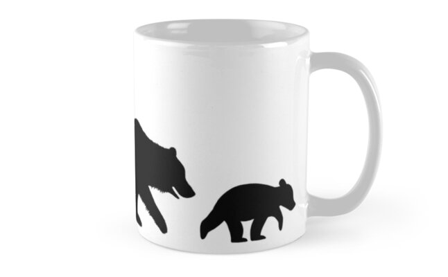 grizzly bear family silhouettes mugs by jenn inashvili redbubble