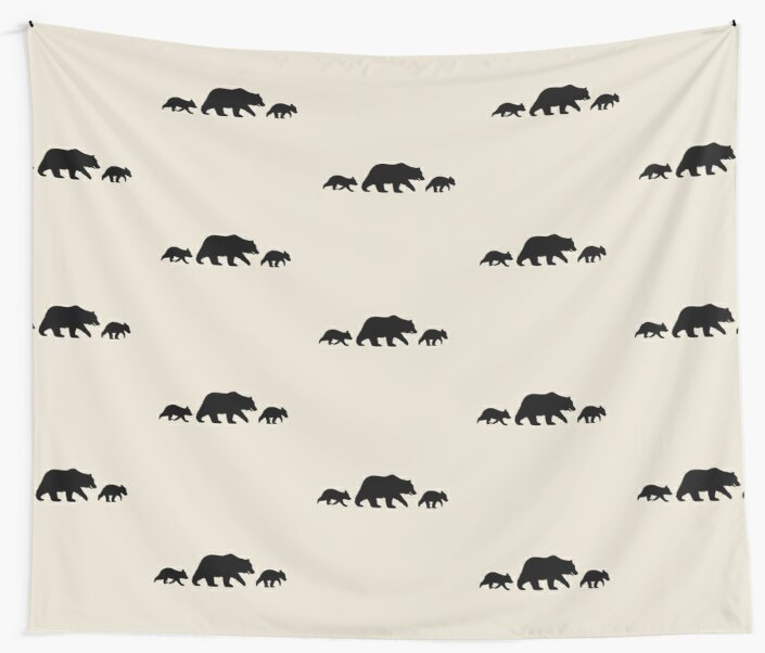 grizzly bear family silhouettes wall tapestries by jenn inashvili