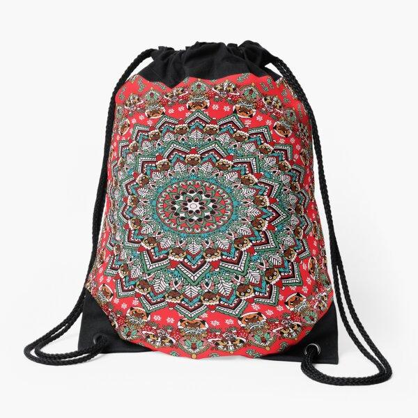 Mandala Christmas Pug Drawstring Bag