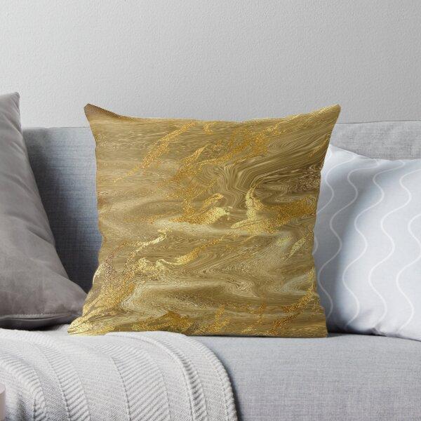 Gold Liquid Marble Metallic Foil Throw Pillow
