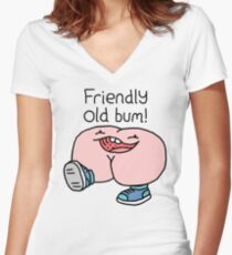"Willy Bum Bum - ""Friendly Old Bum!"" Women's Fitted V-Neck T-Shirt"