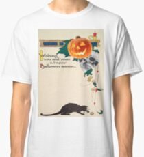 Black Cat (Vintage Halloween Card) Classic T-Shirt