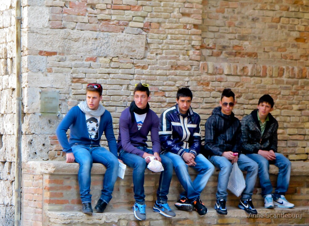 Quot Five Boys In Jeans In Italy Quot By Anne Scantlebury Redbubble