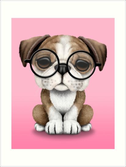 Cute English Bulldog Puppy Wearing Glasses on Pink by jeff bartels