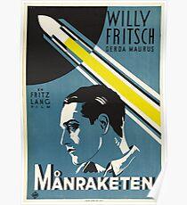 1929 Swedish Fritz Lang Movie Poster—Månraketen (Woman in the Moon / Frau im Mond) Poster