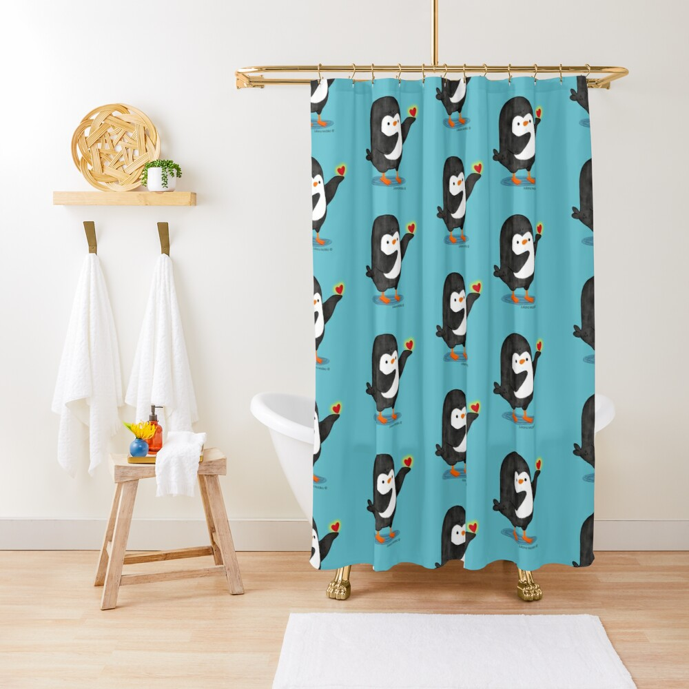Spreading Love Penguin Shower Curtain