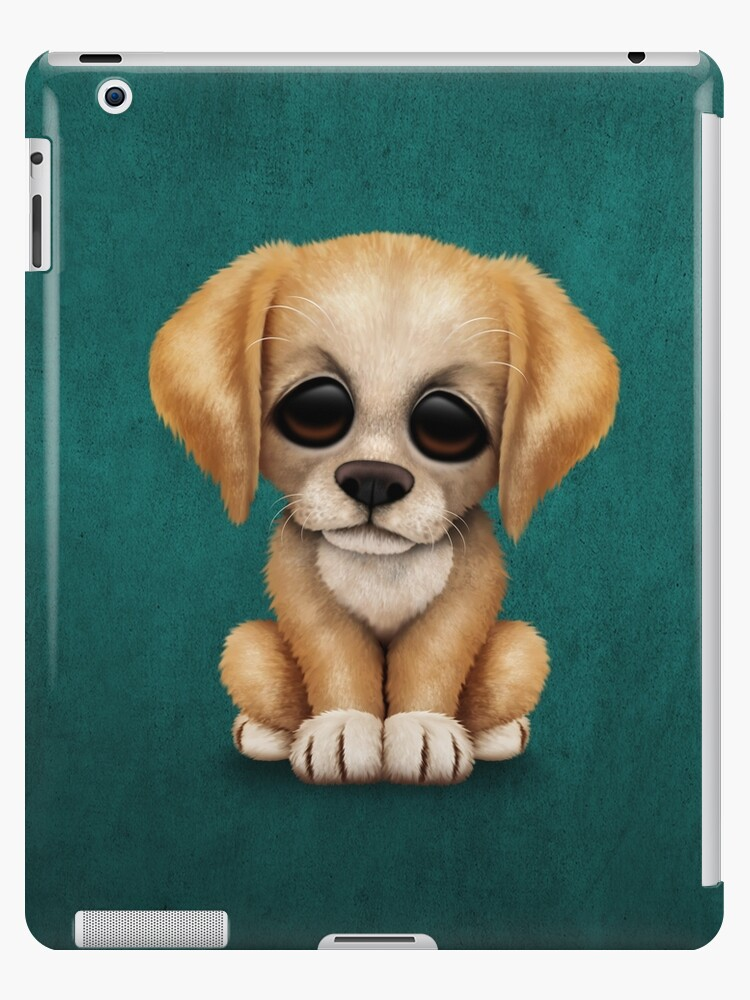 Cute Golden Retriever Puppy Dog On Teal Blue Ipad Cases Skins By