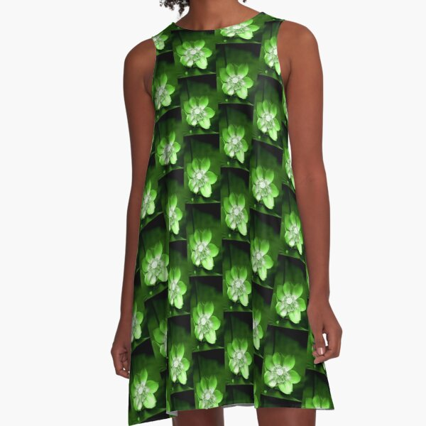 Green Lotus Flower, or Water Lily A-Line Dress