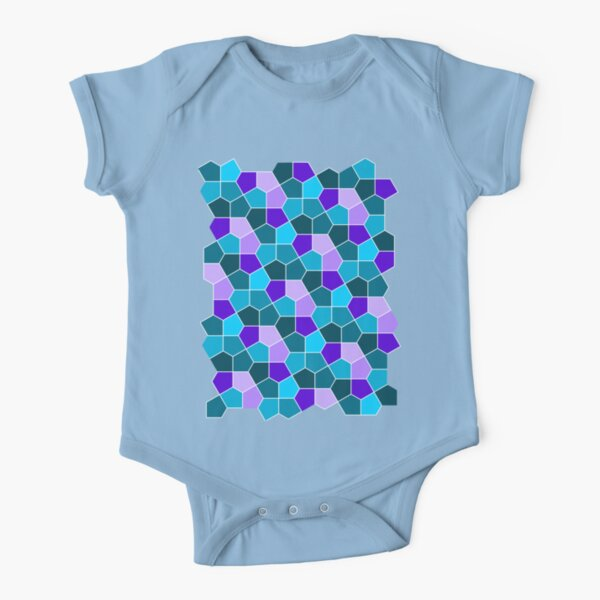 Cairo Pentagonal Tiles in Aqua and Purple Short Sleeve Baby One-Piece