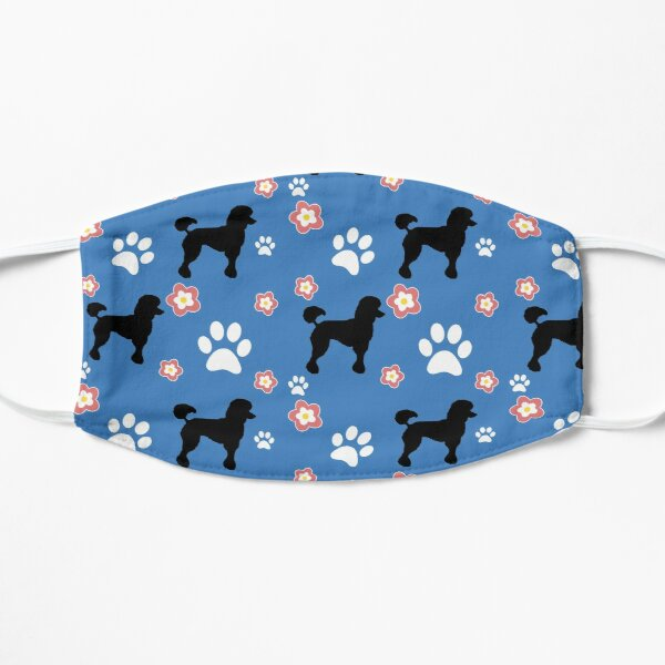 Black Poodle Dog Gifts, on Blue Flat Mask
