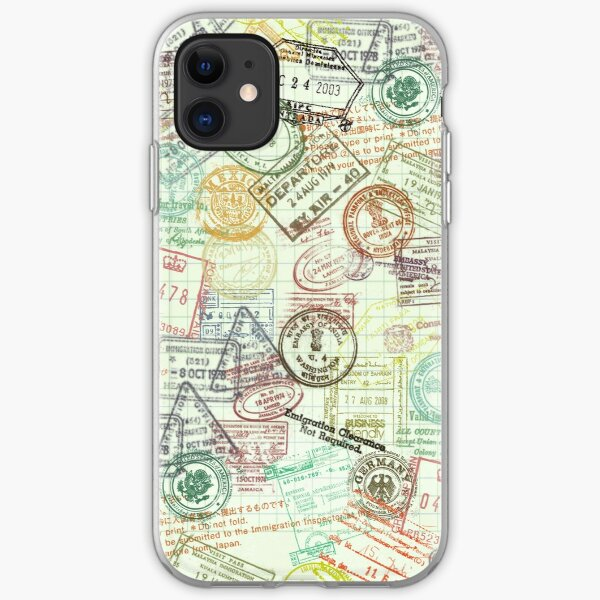 """Around the World"" Passport Stamps Collage iPhone Soft Case"
