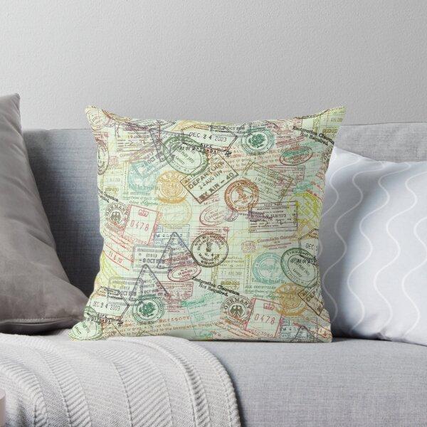 """Around the World"" Passport Stamps Collage Throw Pillow"