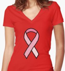 Breast Cancer Ribbon Women's Fitted V-Neck T-Shirt
