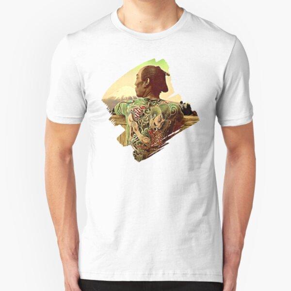Tattooed Samurai overlooking Mt Fuji Slim Fit T-Shirt