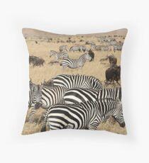 Zebra Migration, Maasai Mara, Kenya Throw Pillow