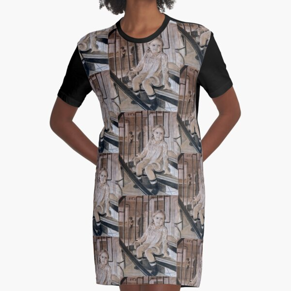 Pigtails and bows - original work - charcoal and pastel by Avril Thomas Graphic T-Shirt Dress