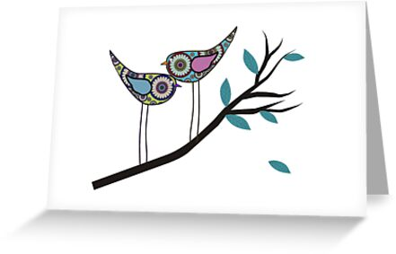 Retro Bird Art 2 Paisley Birds On Tree Branch by Gail Gabel, LLC
