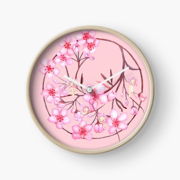 baby cherry blossoms over pin Clock