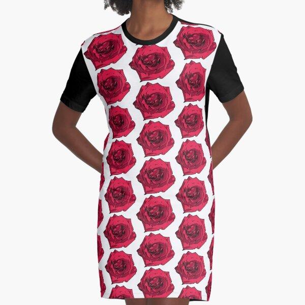 Rote Rose Illustration T-Shirt Kleid
