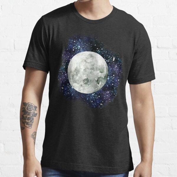 Moon - Star Gazer- Ink & Watercolor Galaxy Essential T-Shirt
