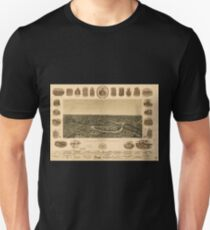 Panoramic Maps Dallas Texas With the projected river and navigation improvements viewed from above the sister city of Oak Cl T-Shirt