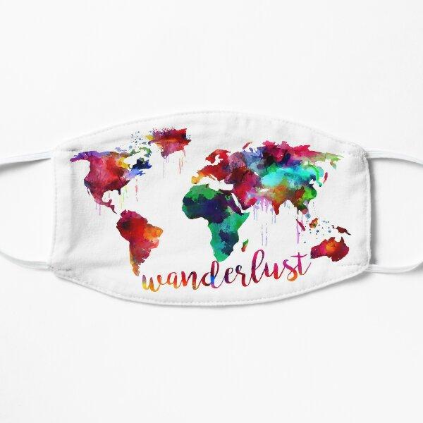 Watercolor Wanderlust World Map  Flat Mask