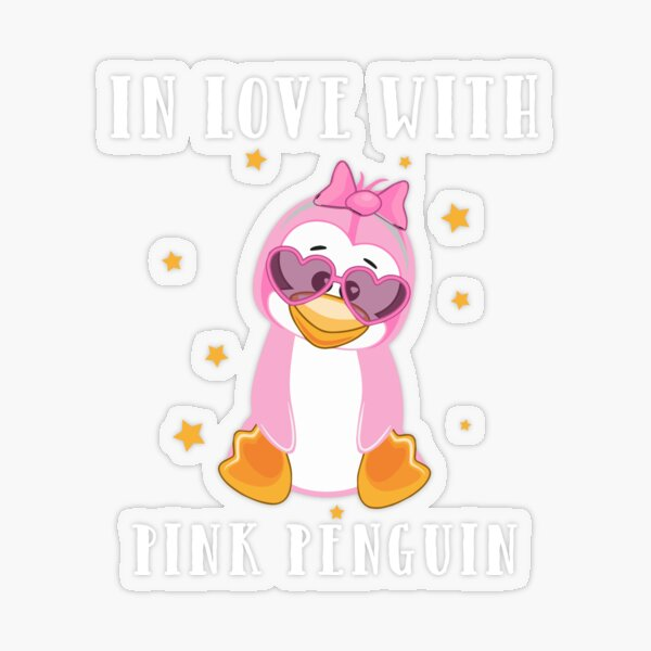 In love with the pink penguin Transparent Sticker