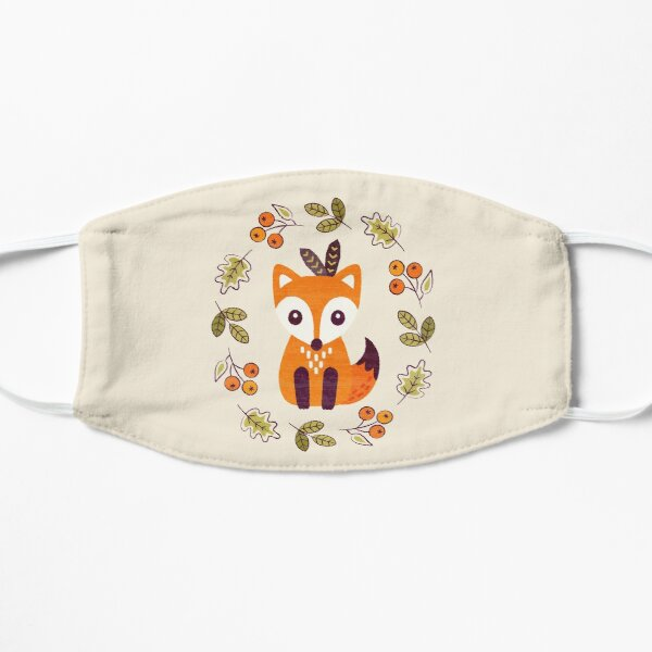 Little Fox with Autumn Berries Flat Mask