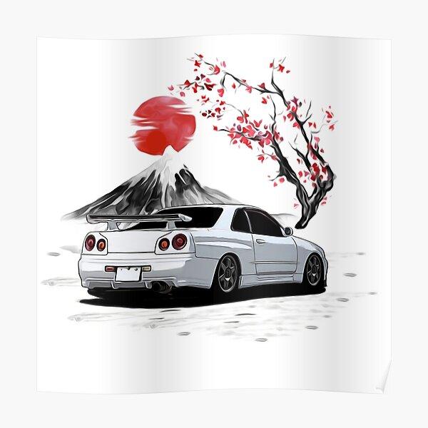 White 1998 Skyline R34 GTR With CHerry Blossom Rear Side Poster