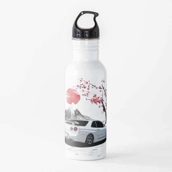 White 1998 Skyline R34 GTR With CHerry Blossom Rear Side Water Bottle