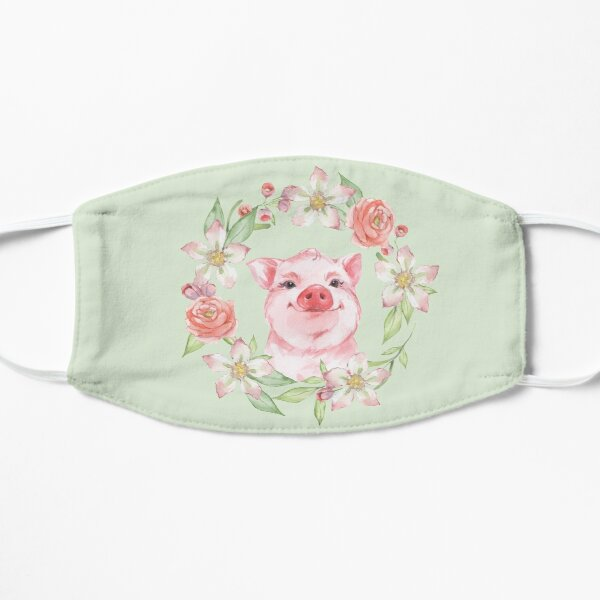Pig and flowers Flat Mask