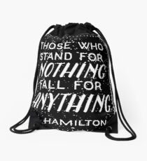 Stand or Fall Quote Drawstring Bag