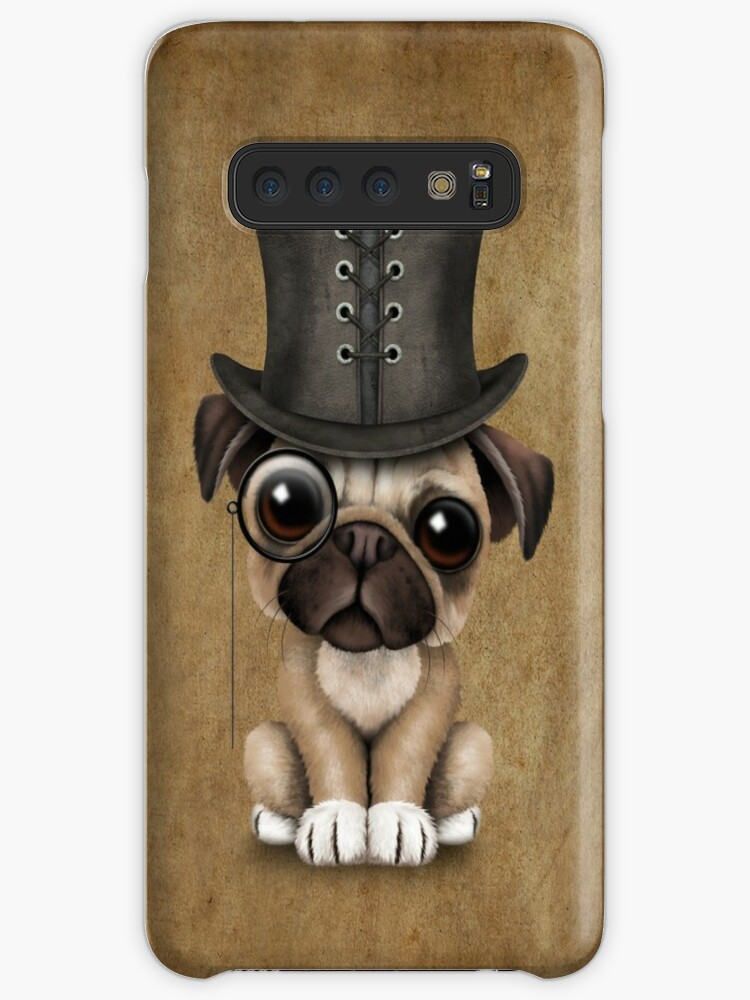 0438a947014 Cute Pug Puppy Dog with Monocle and Top Hat
