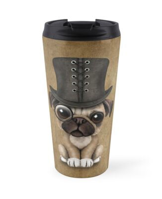 a9c27970e7d Cute Pug Puppy Dog with Monocle and Top Hat