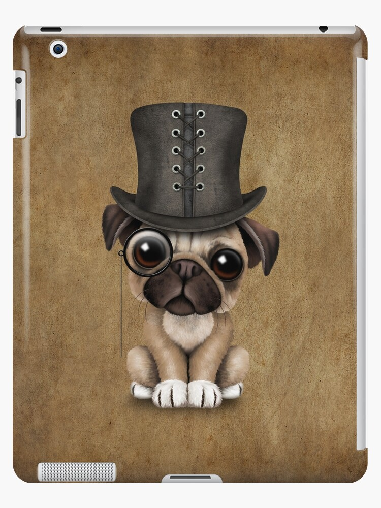 542b9e7f1ad Cute Pug Puppy Dog with Monocle and Top Hat