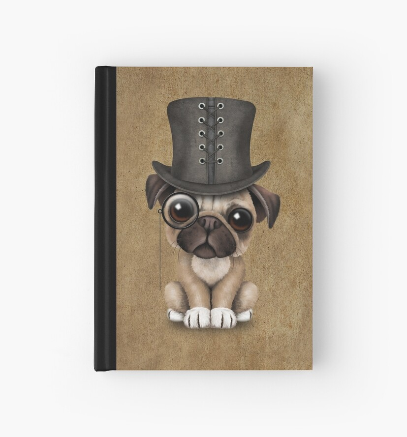 dffa18e9c73 Cute Pug Puppy Dog with Monocle and Top Hat