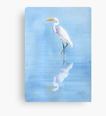 Great Egret In Reflection Canvas Print