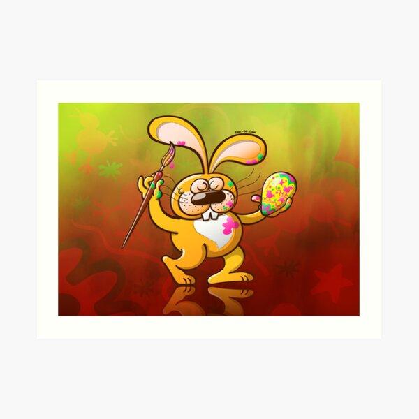 Easter Bunny Painting an Egg Art Print